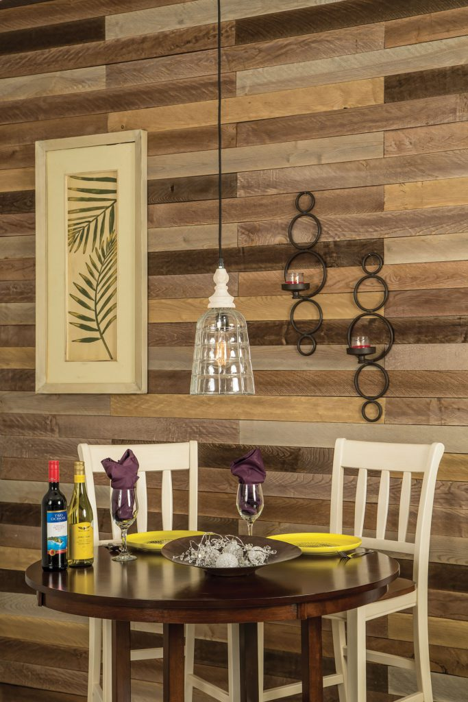 Image of plank wall behind dining set